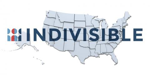 U.S. State Map overlaid with the Indivisible Logo
