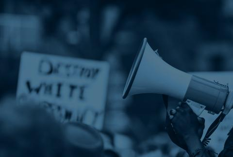Image of a person holding a megaphone in a rally