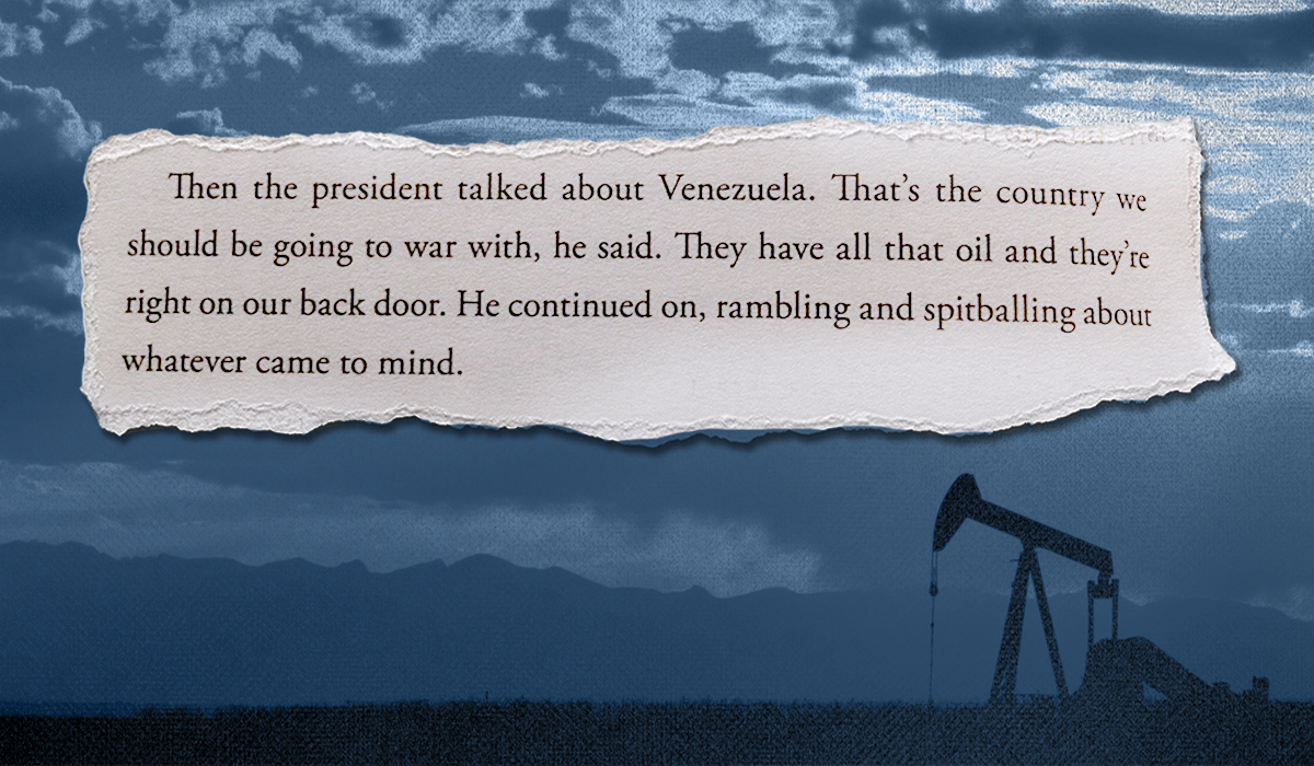 "Image of an oil field with the overlaid text ""That's the country we should be going to war with. They have all that oil and they're right on our back door."""